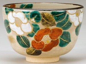 画像1: 【茶道具】 茶碗 色絵 紅白椿  *八木海峰*   (1)