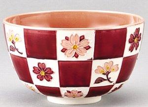 画像1: 【茶道具】 茶碗 桃色交趾 桜市松紋  *山本一如*    (1)