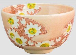 画像1: 【茶道具】 茶碗 淡桃色交趾 桜に流水  *山本一如*    (1)