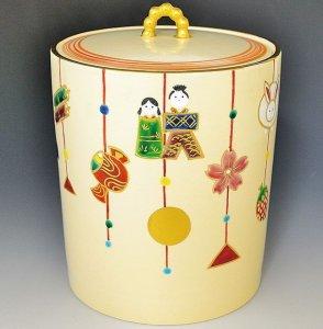 画像1: 【茶道具】 水指 つるし雛  *今岡都*   (1)