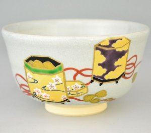 画像1: 【茶道具】 茶碗 失透釉 貝桶  *橋本紫雲*  雛祭にも (1)