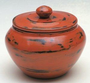 画像1: 在庫限り【茶道具】 茶器 乾漆 根来塗 薬器   *中川正斎*  茶入 (1)
