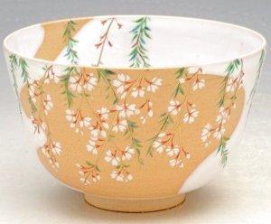画像1: 【茶道具】 茶碗 白釉掛分 枝垂桜  *橋本永豊*   (1)