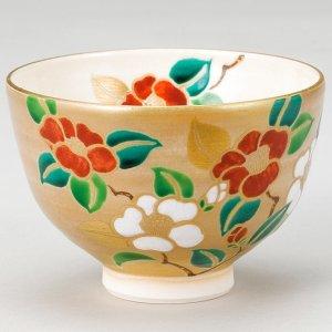 画像1: 【茶道具】 茶碗 金地 紅白椿  *山川敦司*   (1)