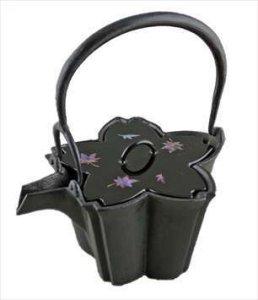 画像1: 【茶道具】 銚子 燗鍋 桜 (螺鈿塗蓋/共蓋)  *喜多庄兵衛*  *酒器*懐石 (1)