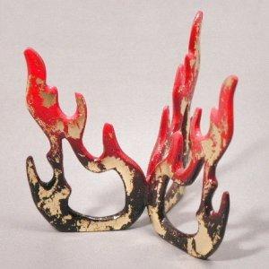 画像1: 【茶道具】 蓋置 唐銅 火  *夜桜・鵜飼・焚き火・クリスマス・祭にも   (1)