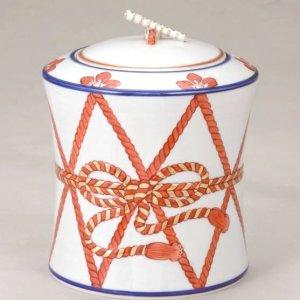 画像1: 【茶道具】 水指 色絵 鼓形  *高野昭阿弥*  楽器・祭・五節句にも (1)