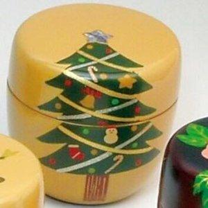 画像1: 【茶道具】 中棗 木質 手描き蒔絵 聖夜 (クリスマス)  *12カ月揃のうち12月* (1)